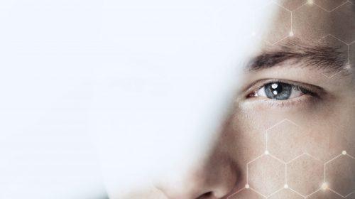 Man looking through glass business vision blockchain technology digital remix